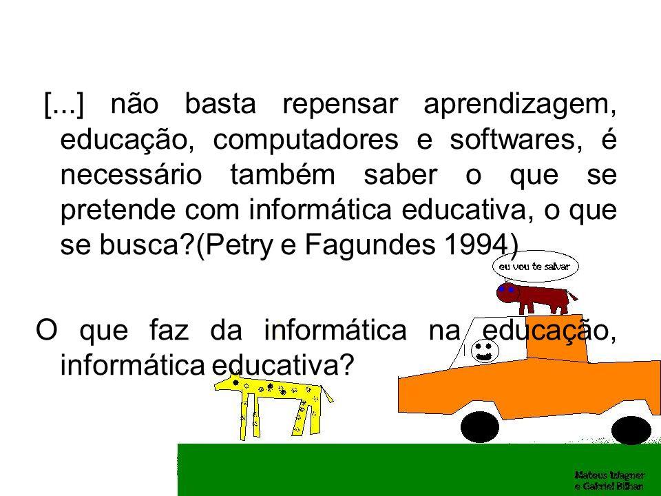 [...] não basta repensar aprendizagem, educação, computadores e softwares, é necessário também saber o que se pretende com informática educativa, o que se busca (Petry e Fagundes 1994)
